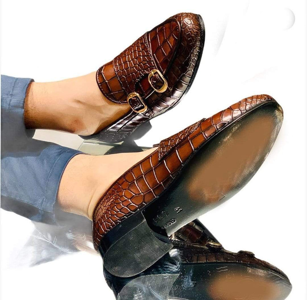 BESPOKESTORES Clothing, Shoes & Accessories:Men's Shoes:Boots Round Toe Double Monk Alligator Texture Brown Leather Loafers
