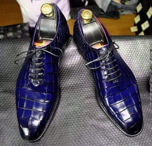 BESPOKESTORES Clothing, Shoes & Accessories:Men's Shoes:Boots Royal Blue Alligator Leather Lace Up Designer Shoes For Men's Foot Wear