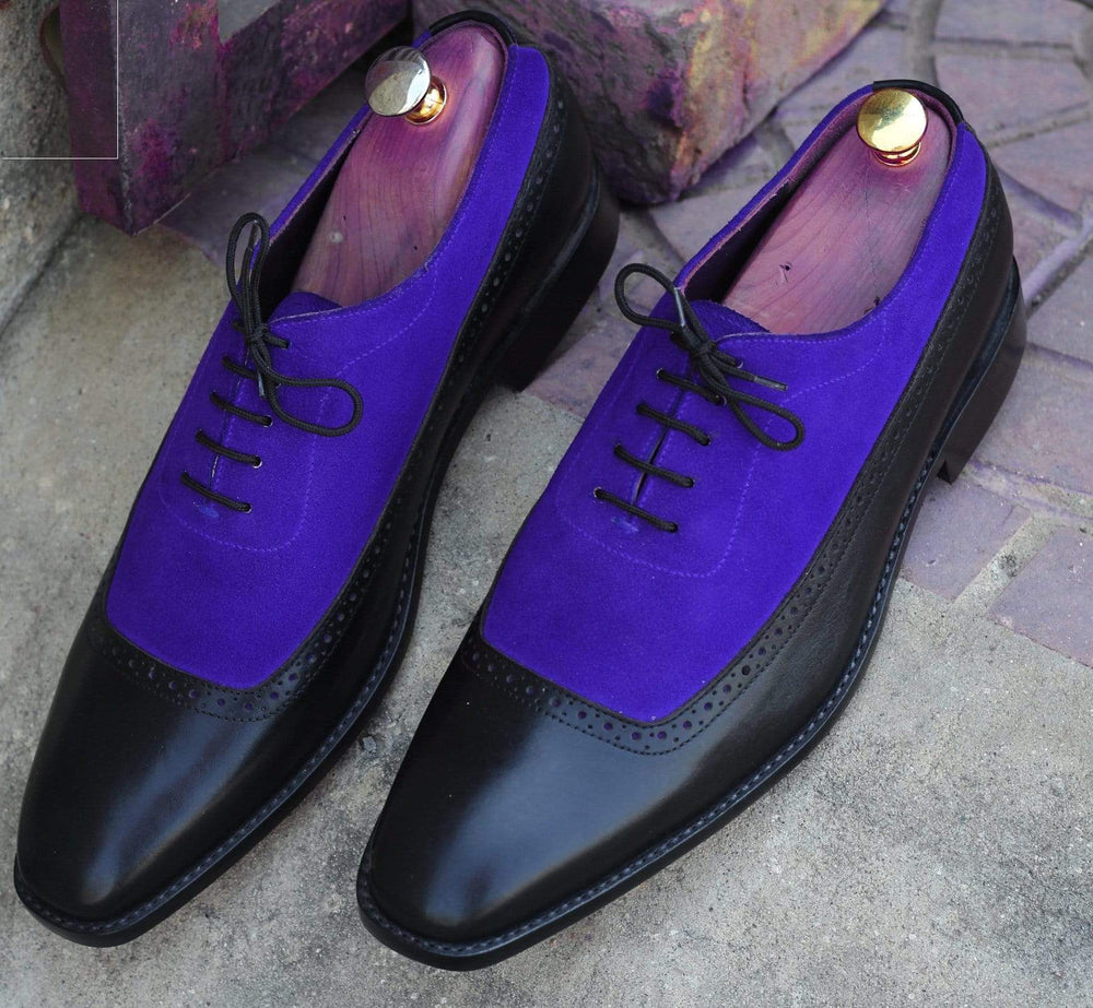BESPOKESTORES Clothing, Shoes & Accessories:Men's Shoes:Boots Royal Blue & Black Square Toe Lace Up Leather Suede Men Shoes