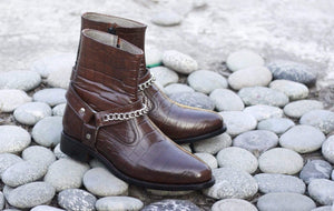 BESPOKESTORES Clothing, Shoes & Accessories:Men's Shoes:Boots Side Zipper Alligator Chocolate Brown Madrid Style Men's Boot
