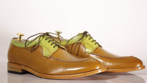 BESPOKESTORES Clothing, Shoes & Accessories:Men's Shoes:Boots Split Toe Hand Painted Two Tone Tan Lace Up Leather Shoes