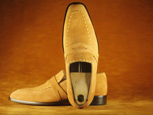 BESPOKESTORES Clothing, Shoes & Accessories:Men's Shoes:Boots Square Toe Finest Beige suede Leather Men's Shoes