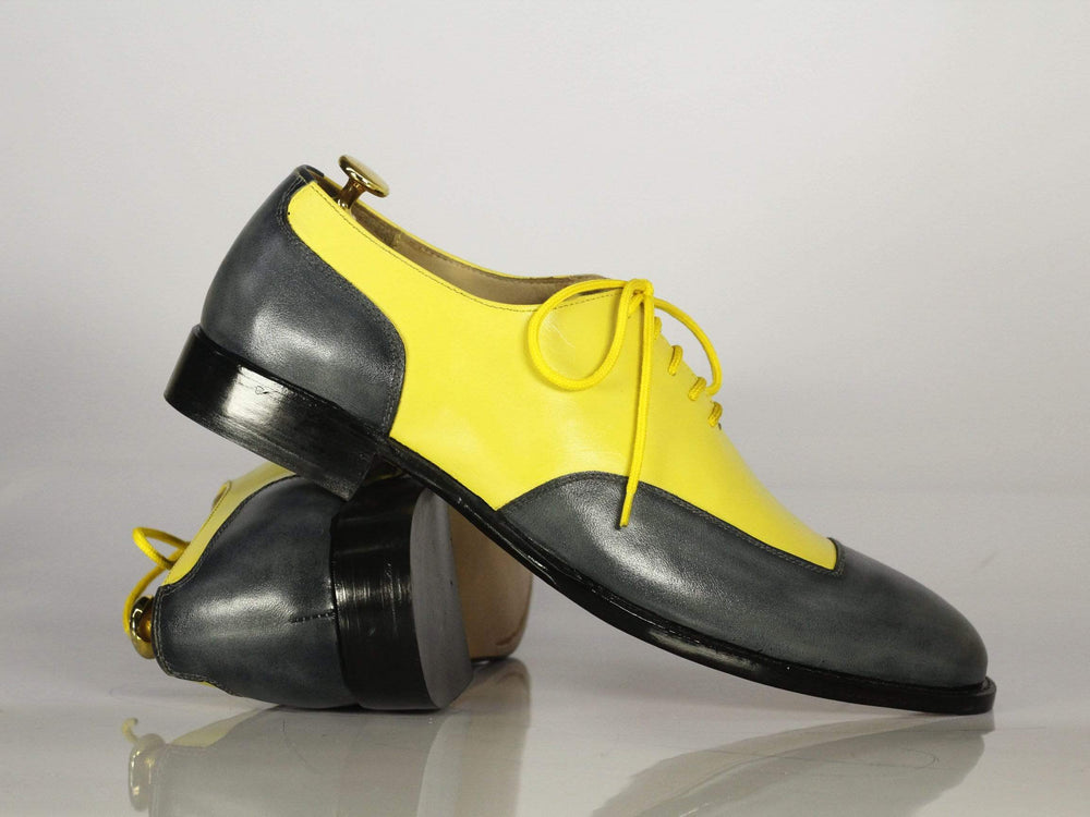 BESPOKESTORES Clothing, Shoes & Accessories:Men's Shoes:Boots Square Toe Yellow & Black Lace Up Leather Men Shoes