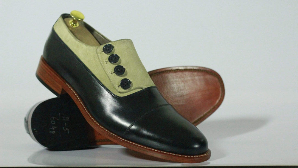 BESPOKESTORES Clothing, Shoes & Accessories:Men's Shoes:Boots Stylish Beige Black Cap Toe Button Top Leather suede Shoes