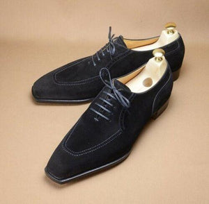 BESPOKESTORES Clothing, Shoes & Accessories:Men's Shoes:Boots Stylish Black Whole Cut Square Toe Lace Up Suede Leather Shoes