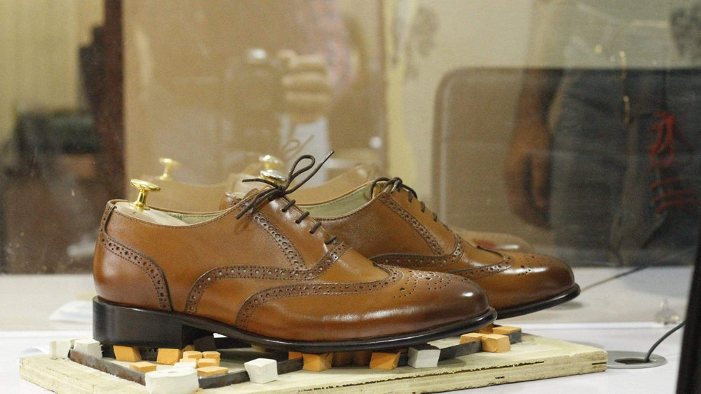 BESPOKESTORES Clothing, Shoes & Accessories:Men's Shoes:Boots Stylish Brown Leather Wing Tip Brogue Shoes for Men's