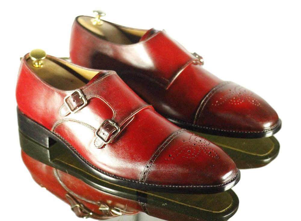 Stylish Burgundy Cap Toe Side Double Monk Leather Shoes For Men