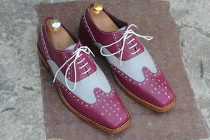 BESPOKESTORES Clothing, Shoes & Accessories:Men's Shoes:Boots Stylish Burgundy & White Lace Up Wing Tip Brogue Leather Shoes