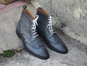 BESPOKESTORES Clothing, Shoes & Accessories:Men's Shoes:Boots Stylish Gray Wing Tip Lace Up Brogue Ankle High Boot