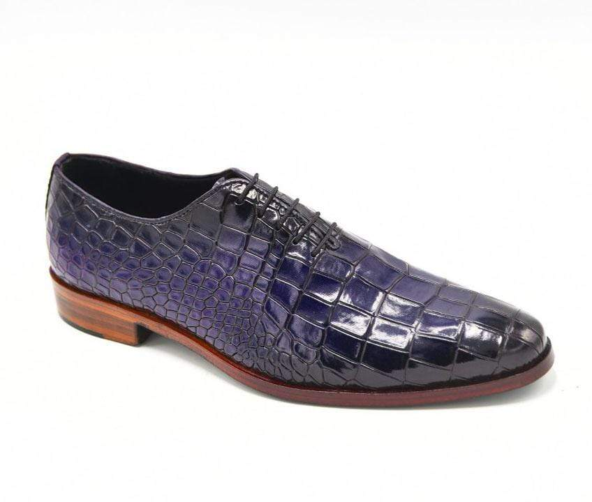 BESPOKESTORES Clothing, Shoes & Accessories:Men's Shoes:Boots Stylish Navy Blue Alligator Texture Lace Up Leather Shoes
