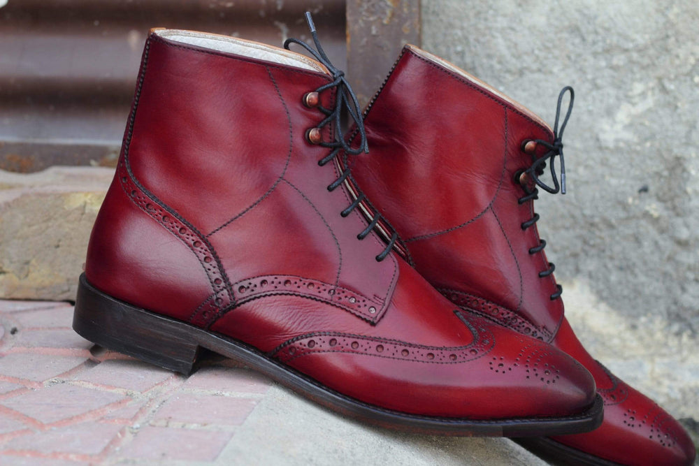 BESPOKESTORES Clothing, Shoes & Accessories:Men's Shoes:Boots Stylish Oxford Burgundy Wing Tip Lace Up Brogue Boot
