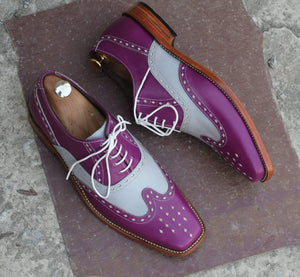 BESPOKESTORES Clothing, Shoes & Accessories:Men's Shoes:Boots Stylish Purple & White Lace Up Wing Tip Brogue Leather Shoes