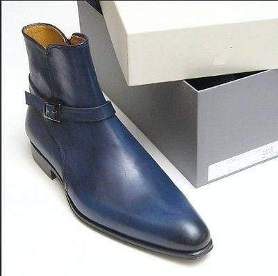 BESPOKESTORES Clothing, Shoes & Accessories:Men's Shoes:Boots Stylish Royal Blue Ankle High Jodhpurs Leather Boot For Men Foot Wear