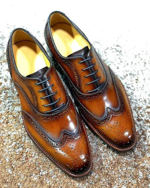 BESPOKESTORES Clothing, Shoes & Accessories:Men's Shoes:Boots Stylish Wing Tip Brown Patent Leather Lace UP Brogue Shoes