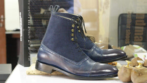 BESPOKESTORES Clothing, Shoes & Accessories:Men's Shoes:Boots Suede Cap Toe Blue Ankle High Lace Up Leather Boot