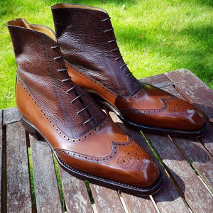 BESPOKESTORES Clothing, Shoes & Accessories:Men's Shoes:Boots Two Tone Beautiful Wing Tip Lace Up Brown Ankle High Boot