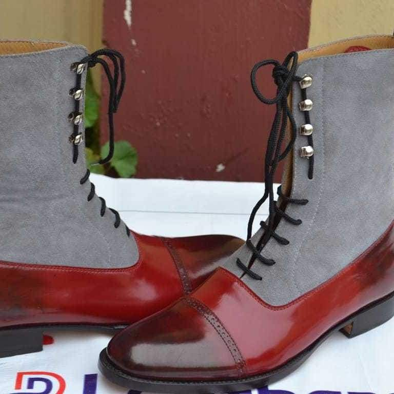 BESPOKESTORES Clothing, Shoes & Accessories:Men's Shoes:Boots Two Tone Cap Toe Ankle High Burgundy Gray Leather Suede Boot