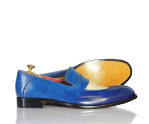 BESPOKESTORES Clothing, Shoes & Accessories:Men's Shoes:Boots Two Tone Hand Crafted Blue White Split Toe Moccasin Leather Loafers
