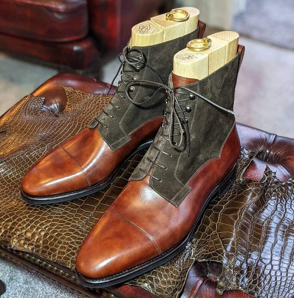BESPOKESTORES Clothing, Shoes & Accessories:Men's Shoes:Boots Two Tone Lace Up Leather Suede Ankle Boot For Men's Foot Wear