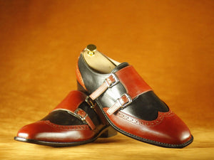 BESPOKESTORES Clothing, Shoes & Accessories:Men's Shoes:Boots Two Tone Stylish Burgundy & Black Wing Tip Double Monk Leather Shoes