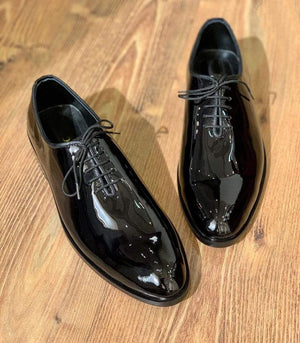 BESPOKESTORES Clothing, Shoes & Accessories:Men's Shoes:Boots Whole Cut Handmade Black Patent Leather Lace Up Shoes For Men