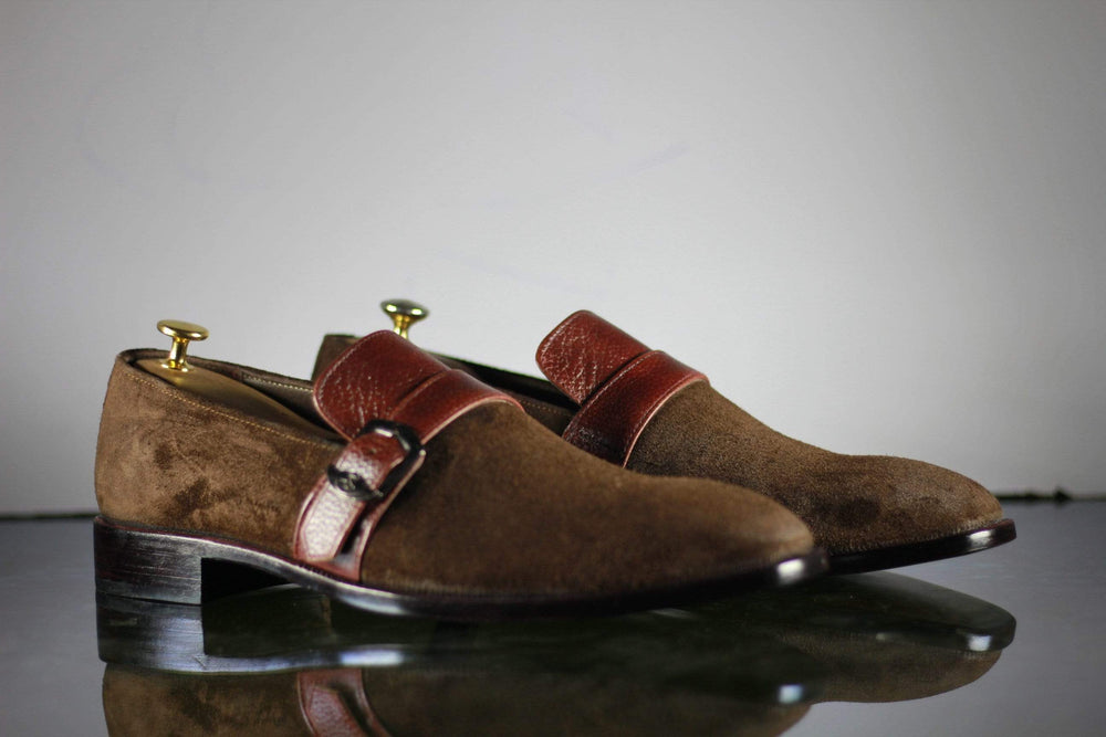 BESPOKESTORES Clothing, Shoes & Accessories:Men's Shoes:Boots Whole Cut Handmade Brown Buckle Strap Leather Suede Shoes