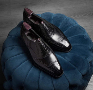 BESPOKESTORES Clothing, Shoes & Accessories:Men's Shoes:Boots Wing Tip Black Leather Brogue Lace Up Men's Shoes