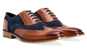 BESPOKESTORES Clothing, Shoes & Accessories:Men's Shoes:Boots Wing Tip Brogue Lace Up Brown & Navy Blue Leather Suede Shoes