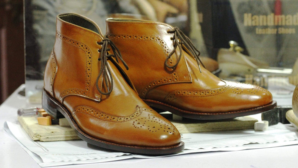 BESPOKESTORES Clothing, Shoes & Accessories:Men's Shoes:Boots Wing Tip Tan Color Lace Up Leather Chukka Boot