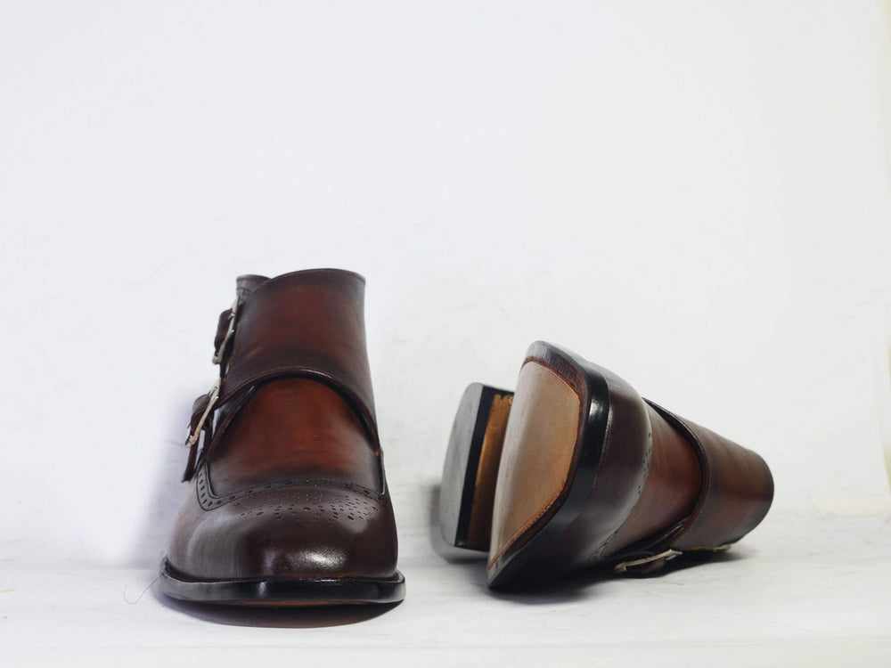 BESPOKESTORES Double Monk Boots Handmade Bespoke Double Monk Ankle Boots For Men's