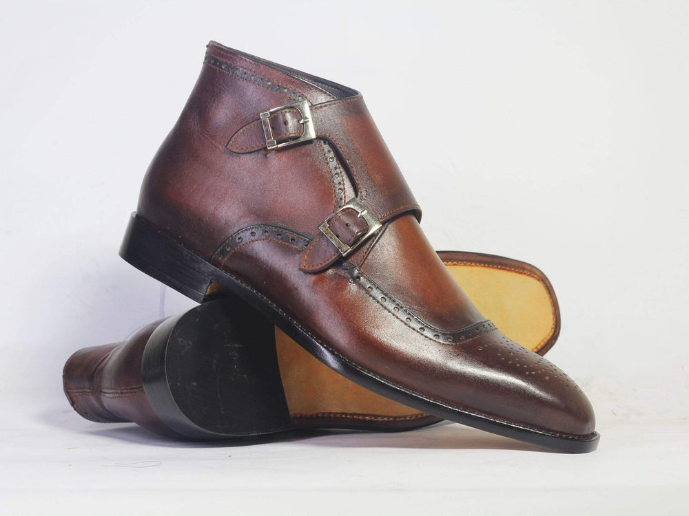 Handmade Bespoke Double Monk Ankle Boots For Men's