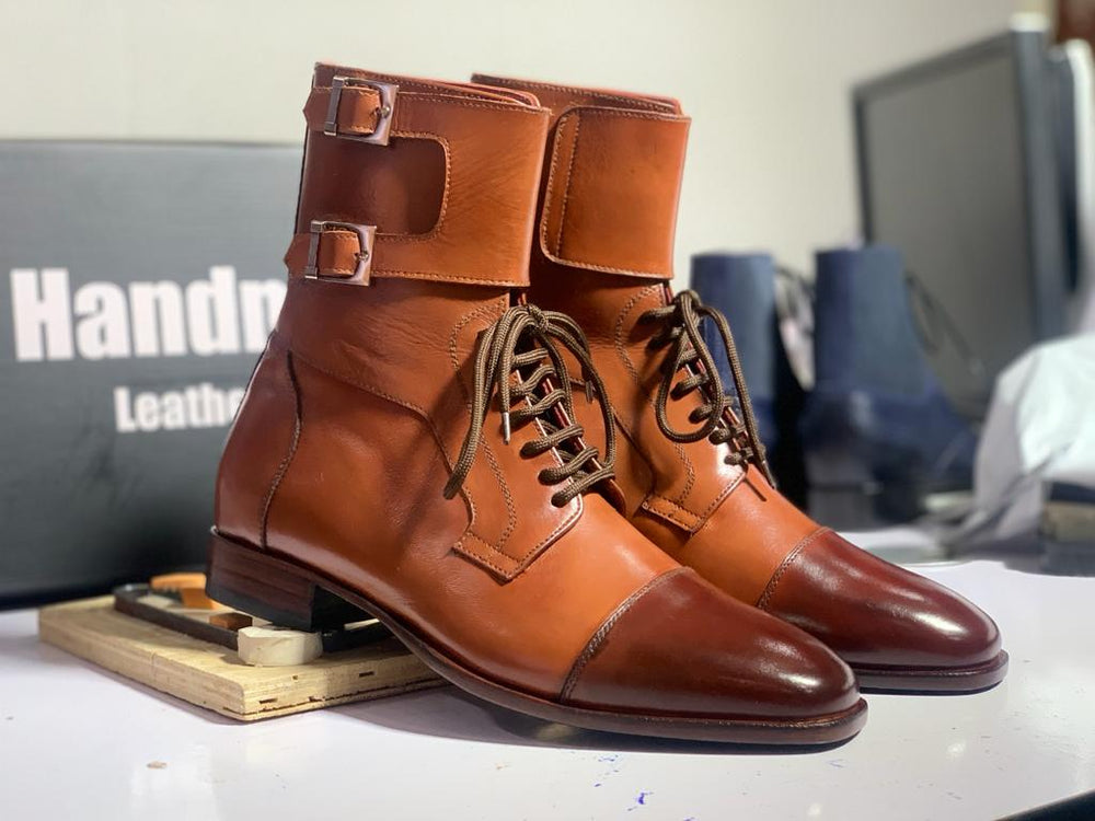 BESPOKESTORES Double Monk Boots Handmade Brown Cap Toe Leather Lace Up & Buckle Long Boots, Men's Oxford Boot