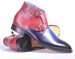 Handmade Double Monk Blue & Red Ankle Boots For Men's