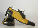 Beautiful Black & Tan Leather Cap Toe Shoes for Men's