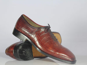 BESPOKESTORES dress shoes Beautiful Burgundy Leather Whole Cut Bespoke Alligator Shoes for Men's