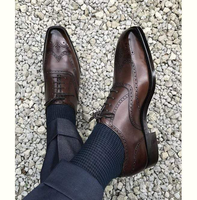 BESPOKESTORES dress shoes Beautiful Cordovan Wing Tip Lace Up Brogue Leather Shoes