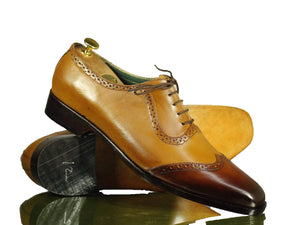 BESPOKESTORES dress shoes Beautiful Two Tone Tan Leather Wing Tip Shoes for Men's