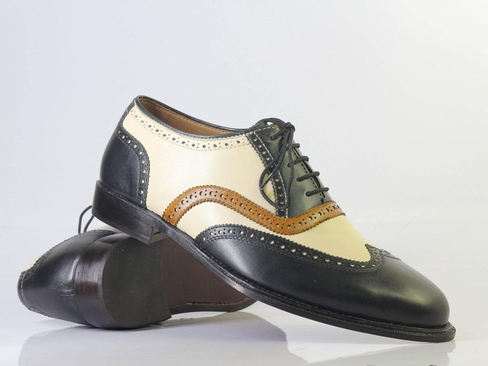 BESPOKESTORES dress shoes Bespoke Black & Beige Wing Tip Leather Shoes for Men's
