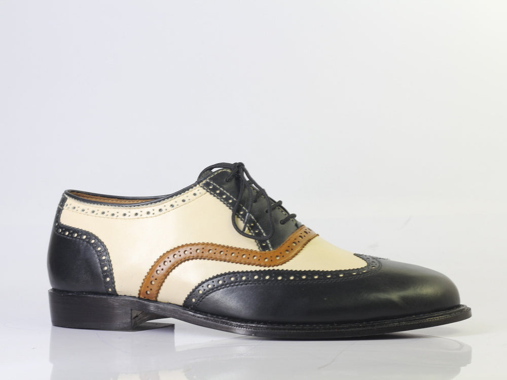 BESPOKESTORES Slipper shoes Copy of Bespoke White & Navy Split Toe Leather Loafers for Men's