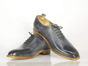 Bespoke Black Brogue Toe Leather Dress Shoes for Men's
