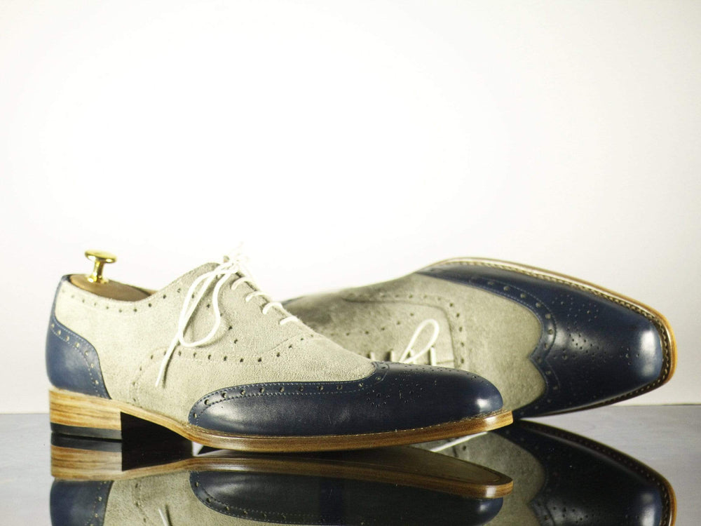 Bespoke Blue & Off White Leather & Suede Wing Tip Shoes for Men's