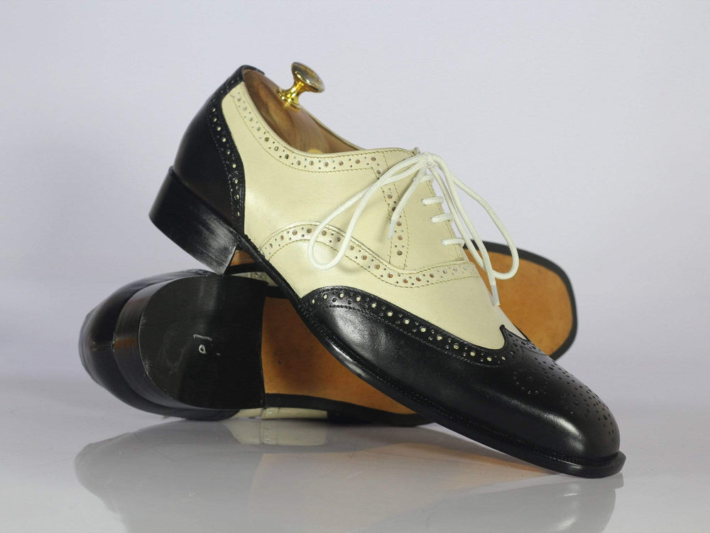 Bespoke Black & Off White Wing Tip Leather Shoes for Men's