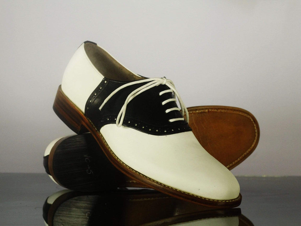 Bespoke Black & White Lace Up Leather Shoes for Men's