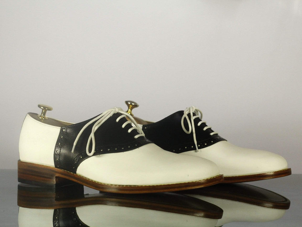 BESPOKESTORES dress shoes Bespoke Black & White Lace Up Leather Shoes for Men's