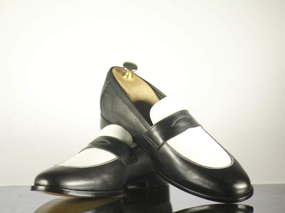 BESPOKESTORES dress shoes Bespoke Black & White Round Toe Leather Shoes for Men's