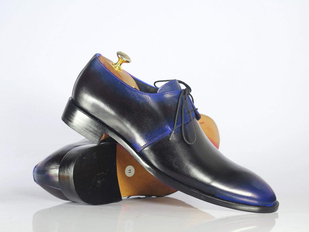 BESPOKESTORES dress shoes Bespoke Blue & Black Leather Lace Up Shoes