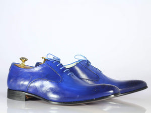 Bespoke Blue Brogue Toe Leather Dress Shoes for Men's