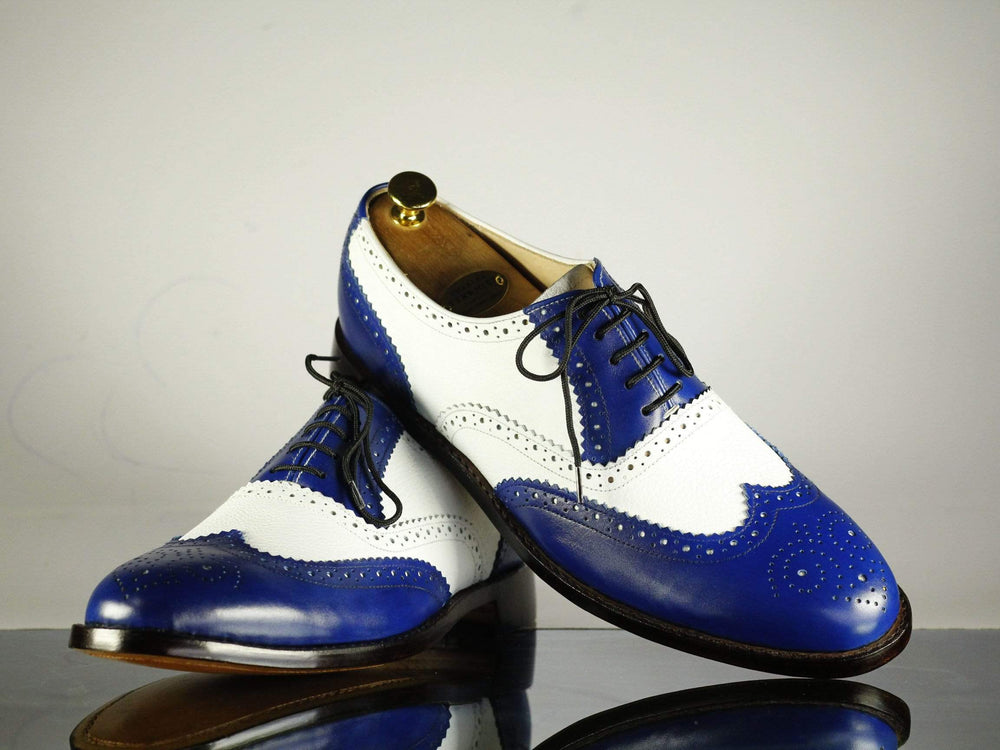 BESPOKESTORES dress shoes Bespoke Blue & White Wing Tip Brogue Leather Shoes for Men's