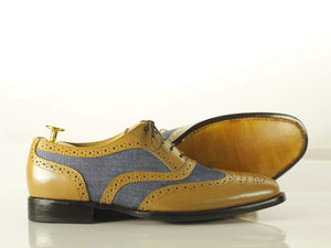 BESPOKESTORES dress shoes Bespoke Brown & Blue Wing Tip Brogue Leather Denim Shoes for Men's