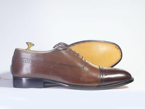 BESPOKESTORES dress shoes Bespoke Brown Cap Toe Brogue Leather Shoes for Men's